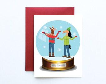 Snow globe Christmas Card, Warm Wishes Card, Holiday Snowglobe card