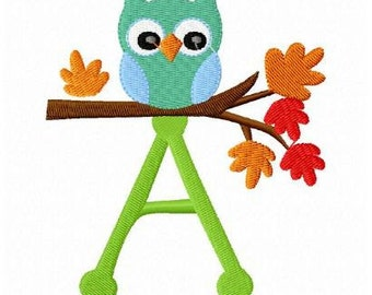 set of 26 fall owl letters machine embroidery design font special price this week only