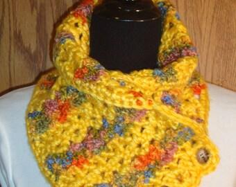 Bright Yellow Crochet Neckwarmer, Short Yellow Scarf, Scarflette, Cowl, Bright Yellow Cowl, Button Scarf, Crochet Scarf, READY TO SHIP