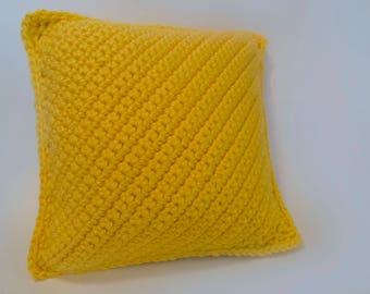 Soft Crochet Pillow/Pittsburgh Yellow