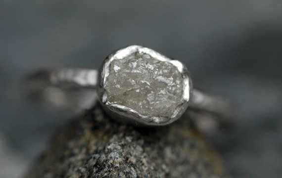 Platinum and Conflict-free Raw Diamond Engagement Ring with Hammered Band- Made to Order