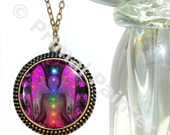 "Chakra Angel Necklace, Rainbow Reiki Energy Art, Unique Jewelry ""Balance Within Chaos"""
