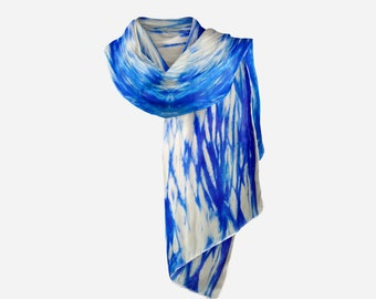 Foulard for mother's day, Hand-dyed silk, Unique piece, Shibori wrinkled, Boho chic foulard, Gift for her, Ultramarine Blue,