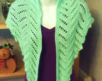 Hand knitted  Shawl - Free Shipping