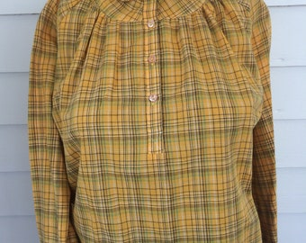 Yellow Plaid Blouse Long Sleeve 70s Casual Shirt Vintage M