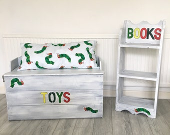 Solid Pine Up-cycled Pine Toy Chest and Bookshelf Hungry Caterpillar