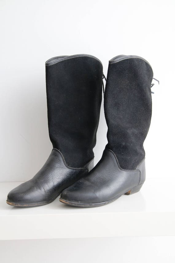 Chunky Genuine Boots Boots Black Leather 36 Boots EUR US 6 Boots Black Boots Boots Vintage Cowboy Suede Leather Spring Size 90s Boots q8fagf