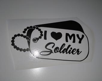 Laptop decal, I love my soldier dog tags, car decal , window sticker  , bumper graphic , laptop sticker , army , soldier dog tags,soldier