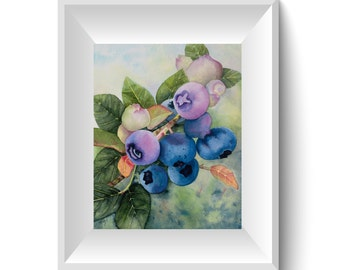 Blueberry Picture - watercolor fruit painting -  berry painting - kitchen art -  Watercolor Print - Original Art - Fruit Decor - Berry Print
