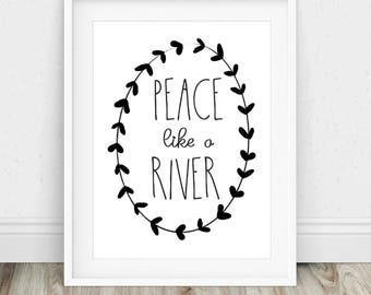 Peace Like A River - Hymn Art, Christian Wall Art, Hymn Printable, Christian Hymn Art, Christian Gift, Hymn Art Print, Printable Wall Art