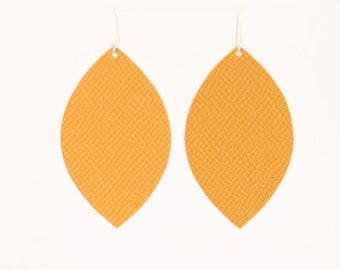 Leather Petal Earrings, Yellow Leather Earrings, Boho Leather Earrings, Boho Style Statement Jewelry, Yellow Jewelry, Spirited and Co