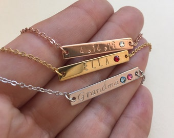 Personalized Necklace Wedding Bridesmaid Gift Bar Necklace Name Necklace Birthstone Graduation Gift  Gold Necklace Birthday Gift for Women