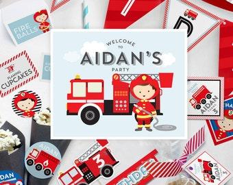 Boys Fire Man, Fire Truck, Fire Engine, Fire Fighter Birthday Party Decor Kit, Kid's Birthday Decoration