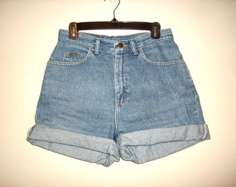 Vintage 1990s High Waist Denim Shorts, Size Large