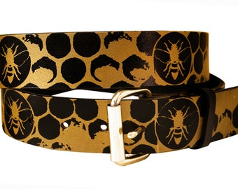 Honeybees and Honeycomb Leather Belt