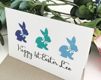 Happy 1st Easter Card Personalised gift 1st Easter 2018 My First Easter Greeting Card Baby Boy Gift Baby Girl Gift Newborn Gift Easter Bunny