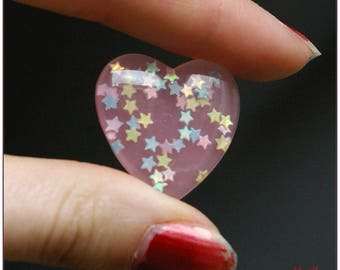 Cabochon resin transparent more opaque pale pink heart with inlaid bright star x 1