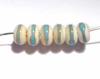 IVORY Turquoise Rondelles Handmade Glass Lampwork BEADS  Ivory with Turquoise Blue Wrap Organic Rondelles Set of 6