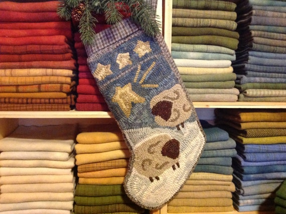Rug Hooking PATTERN, Two Sheep Stocking, J975, Christmas Hooked Stocking, DIY Primitive Rug Pattern
