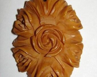 14 kt Gold Filled & Carved Bakelite Butterscotch Floral Pendant Necklace