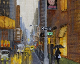 I Love New York in the Rain - Original Painting 8x8 Rain Shopping Night Reflections Yellow