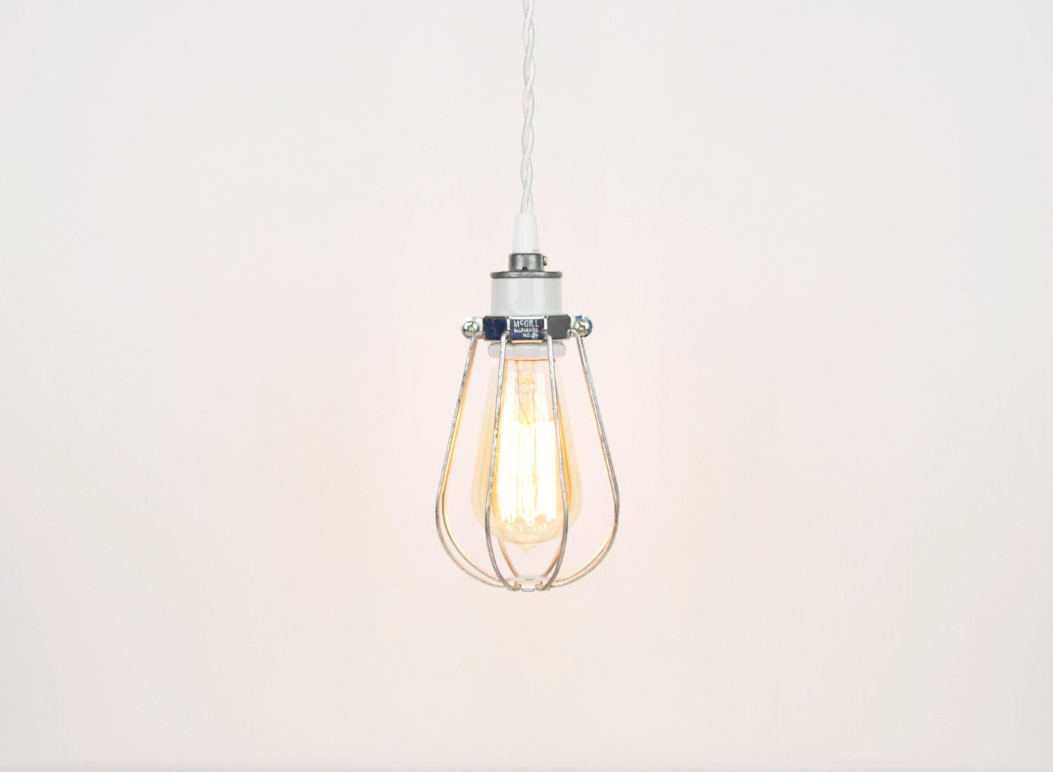 Closed Wire Cage Pendant Light White Porcelain Socket w/