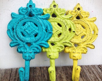 BOLD set of 3 ornate medallion wall hooks // lime green aqua blue yellow // towel coat hook // shabby cottage chic // rustic floral