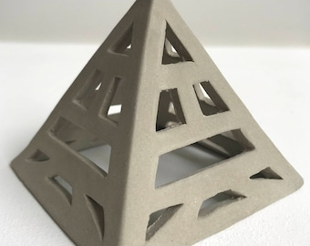 Grey Ceramic Geometric Table Top Pyramid