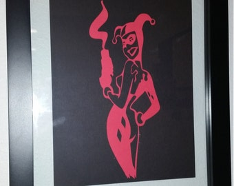 Harley Quinn Black and Red Silhouette Floating Frame