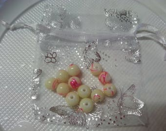 12 glass beads, round yellow champagne + organza bag
