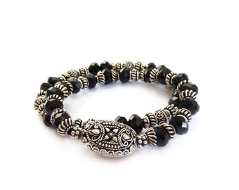 Black & Silver Stacking Bracelets - Ornate Silver Bali Beads - Beaded Stretch Bracelets - Holiday Gift for Her