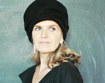 Black Boiled Wool Hat