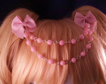 Made-to-order beaded bow hair clip for sweet lolita or elegant gothic lolita style, beaded headdress, alligator clip, Kawaii, creepy cute