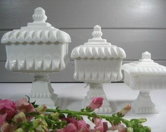 MEDIUM Milk Glass Wedding Box, Vintage Wedding, Jewelry Box, Candy Dish