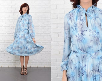 Vintage 70s Blue Mod Dress Abstract Pleated A Line boho Small S 10743