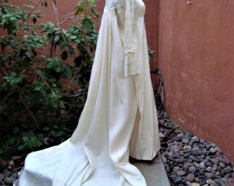 1960s Renaissance Revival Ivory Wedding Gown With Beaded Juliet Cap by Neiman Marcus  Size S/M