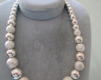 Silver tone Necklace w/ Stardust Textured Beads
