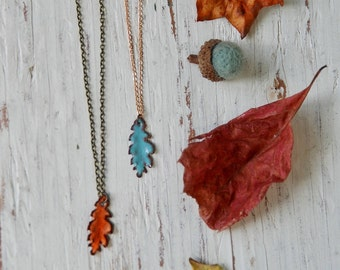 Leaf necklace,enamel leaf pendant necklace,layering necklace, charm necklace,leaf charm necklace,fall necklace, fall jewelry