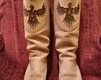 Vintage 1960s 1970s Zodiac USA Suede Cowgirl or Cowboy Boots