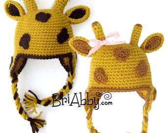 Crochet Giraffe Hat Pattern (PDF FILE)