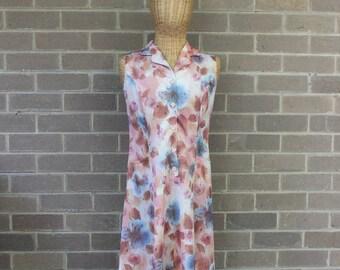 Vintage Brown Floral Shift Dress