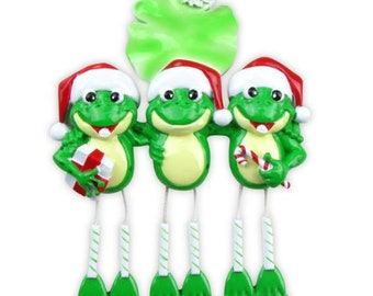 Personalized Frog Family of 3 Ornament