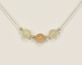 Natural Moonstone Three Bead Choker Pendant in Sterling Silver