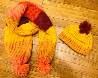 Scarf and hat w/ poms