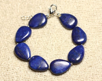 Bracelet 925 sterling silver and stone - Lapis Lazuli drops 18mm