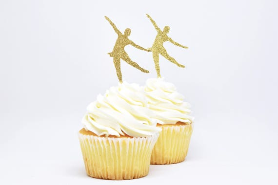 Figure Skater Cupcake Toppers - Glitter - First Birthday Decor. Skating Party Decor. Birthday Party. Ice Skating Party Decor. Skater Party.