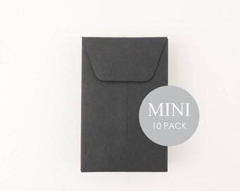 """Mini Envelopes - 2"""" x 3 1/2"""" ,  Envelopes, Business Card Envelopes, Black , sold in sets of 10"""