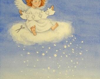 Angel Christmas Card, Holiday card, Watercolour