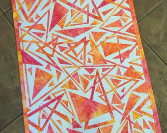 "Art Quilt, ""POINTS"",  Fused Geometry, Fiber art, Wall Hanging"