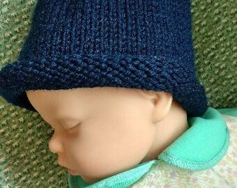hand knitted newborn blueberry hat